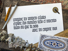 Client's poem. (Syntax One) Tags: calligraphy blackletter textura quadrata higgins brause
