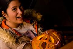 Melissa (Jeremy Caney) Tags: laughing pumpkincarving smile jackolanterns obama houseparties parties americanflags orange brownhair patriotic browneyes girl fur flags star pentagram jacket smiling pumpkins halloween melissa