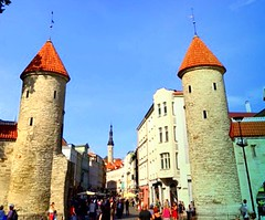 Tallinn old town, Estonia, Viru Street and towers of medieval Viru Gate (dimaruss34) Tags: newyork brooklyn dmitriyfomenko image estonia svetlanafomenko tallinn oldtown building virugate virustreet street