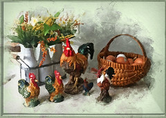 Chickens-&-eggs (laxwings) Tags: chickens eggs milk bottles wisconsin watercolor fineart flowers floral still life