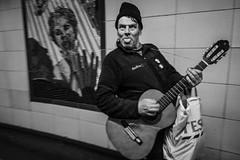 local guitar hero (jrockar) Tags: bw mono blackandwhite street streetphoto streetphotography documentary decisive moment instant guy man guitar gesture jrockar janrockar idiot slowlight ordinarymadness ordinary madness westfromeast london leytonstone rockstar tongue xt2 fuji fujifilm 28mm