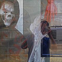 self-portratit (maximorgana) Tags: cartagena reflection reflected blood red baseball cap skull skeleton