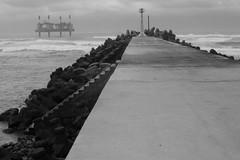 Rough Weather 3 (Bob Hawley) Tags: asia taiwan nikond7100 nikkor35135mmf3545lens miaolicounty tongxiaotownship tongxiaofishingharbor coast seaside industry blackandwhite monochrome structures breakwaters