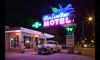 Time Traveling (Whitney Lake) Tags: neon car antique newmexico tucumcari 50's blueswallowmotel vintage retro