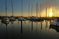 Mast And Ropes (Alfred Grupstra) Tags: nauticalvessel harbor sea yacht marina sunset water summer reflection sailboat outdoors vacations nature pier tranquilscene blue sky travel dusk nopeople dawn