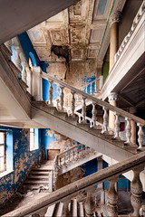 Relinquished (2018) | The Companionway (James Kerwin Photographic) Tags: artist british architecture fineart photographer stairs eastern europe georgia santatorium decay twisted history neglect relinquished 2018 jameskerwin jameskerwinphotographic easterneurope stunning multiple blue yellow white