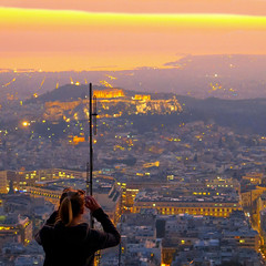 athens sunset (poludziber1) Tags: landscape colorful color cityscape orange city travel people greece athens sunset