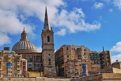 St. Paul's Cathedral (Douguerreotype) Tags: balcony stone malta buildings cityscape dome architecture city cathedral tower valletta urban historic church