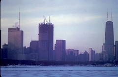 Chicago Skyline (moacirdsp) Tags: chicago frozen lake michigan skyline prudential john hancock buildings cook county illinois usa 1972