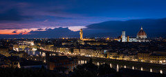 View of Florence from Piazza Michaelangelo 8- (jdl1963) Tags: travel tuscanny florence firenze river arno vecchio palazzo cattedrale di santa maria basilica del fiore duomo cathedral church dusk twilight night italy