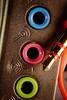 Circles - [MarcoMondays_20180409] (Arranion) Tags: macromonday macromondays macro circles circle sound card headphones jack blue pink green orange textures texture macrotextures canon eos 40d closeup