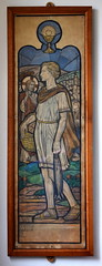 cartoon: a boy with five loaves and two fishes (Margaret Agnes Rope) (Simon_K) Tags: kesgrave ipswich suffolk eastanglia stainedglass rope rc roman catholic family artist stained glass windows diocese airship memory memorial