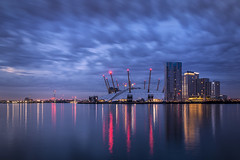 Blue hour at the O2 (cliveg004) Tags: o2 bluehour predawn clouds le longexposure blackwall greenwich london lights reflections towers buildings nikon d5200 londonflickrmeet2018