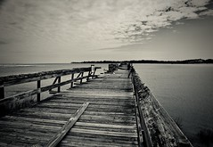 Devastated Pier - Hunting Island SC (Meridith112) Tags: beaufortcounty huntingisland huntingislandstatepark beaufort sc south southcarolina carolinas lowcountry seaislands decay mono bw blackandwhite pier abandoned nikon nikon2485 nikond610 2018 april spring hurricane hurricanematthew hurricaneirma atlanticocean ocean clouds