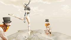 Tightwire (tralala.loordes) Tags: tralalaloordes tralala circus monkey tightwire avatar secondlife virtualreality sl mesh barbed wire ruffle highwire balancingact show event cybrex cureless shi azoury artmonkey moonamore ccstjames theforge anthropos blindfold eirene stamina stripes flickrunitedaward expression artistic