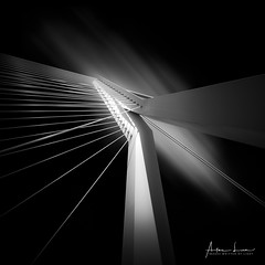 Keeping The Strings Under Tension (Alec Lux) Tags: rotterdam architecture blackandwhite blackandwhitephotography bridge building cables canal city clouds design erasmus fineart geometric geometry holland longexposure netherlands sky strings structure tension urban
