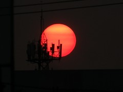 Sunset and telecom-tower.