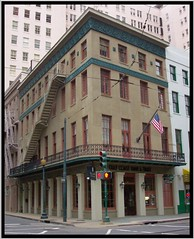 New Orleans Louisiana -  Gulf Coast Bank and Trust Company - Historical Building - CBD (Onasill ~ Bill Badzo) Tags: chicago school style new orleans county la louisiana historical historic gulf coast bank trust company 100 years old onasil business 1883 vieux carre downtown balcony flag american usa fire escape nrhp onasill