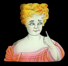 Glasbild für die Laterna Magica zum Verstellen mit Dame 2 (altpapiersammler) Tags: alt vintage glas glass optik blond dame lady laternamagica licht light spas fun augen eys old blick