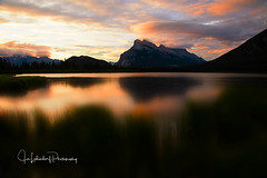Mt Rundle Sunrise (HikingJoe-Gone too long) Tags: banff banffnationalpark blur canada canadianrockies clouds grass landscape reflection scenic sky sunrise vermillionlakes