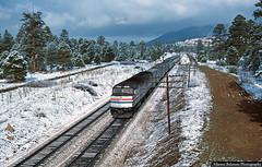 Spring Snow in Arizona's Coconino National Forest (jamesbelmont) Tags: amtrak arizona southwestchief emd f40ph flagstaff walnutcanyonroad route66 ponderosa sanfranciscopeaks passenger superliner
