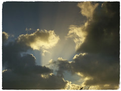 Crepuscular Rays Sunset (Zelda Wynn) Tags: sunset rain crepuscularrays auckland weather cloudscape