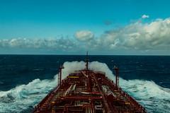 Rough weather on route (langdon10) Tags: atsea atlanticocean canon70d laurentiadesgagnes navigation saltwater ship spay tanker clouds nautical ocean outdoors waves