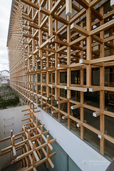Exterior view of GC Prostho Museum Research Center  (GCプロソミュージアムリサーチセンター) (christinayan01 (busy)) Tags: museum architecture building aichi japan kengo kuma perspective ceiling