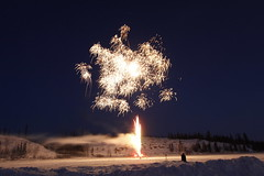 Fireworks on Rat Lake (Camusi) Tags: canada yellowknife northwestterritories northof60 nord nwt north territoiresdunordouest tno march mars spring printemps events événements soir night nuit fireworks feudartifice ratlake lights lumières