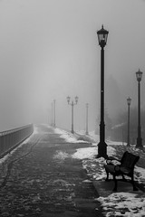 Morning mist (Rock_Doc) Tags: lamp urban landscape london bench mist ontario canada canon blackwhite 60d