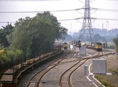 56 029,  56 064,  47 326 'Saltley Depot'. Whitacre (Hams Hall). 18 September 1997 (ricsrailpics) Tags: uk warwickshire coleshill hamshall freighttrains classes5647 diesellocomotives 1997