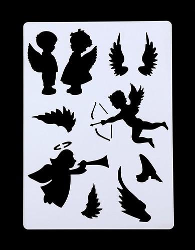 Large Plastic Stencil - Angels (1pc)