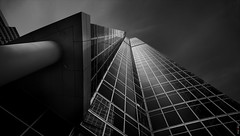 RUS66989(Look Up) (rusTsky) Tags: black white blackwhite blackandwhite monochrome tower shapes structure perspective city exterior lookingup geometric shadow canon eos5d