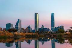 Santiago Skyline (rsoledadvf) Tags: chile skyline canon sunset cityscape lightroom santiagodechile