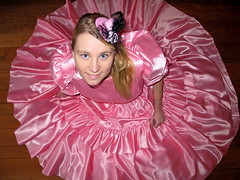 Smiling young lady (Paula Satijn) Tags: beautiful gorgeous girl lady young awesome elegant magnificent classy satin silk shiny dress gown ballgown pink feminine girly hot sweet adorable cute smile lovely blonde hat skirt fun joy