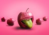 Apple with mouth and tongue out (Juhamatti Vahdersalo) Tags: agriculture apple apples background care citrus close colored colorful conceptual cute diet dieting food fresh fruit funny green groceries group health healthy humour inside joke jokes mouth open out pink stand teeth tongue ugly unique