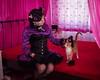 Two cats (blackietv) Tags: costume cat kitty black purple satin dress petticoat corset crossdressing crossdresser tgirl transvestite transgender