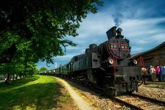 train (try...error) Tags: steam locomotive red blue sky sun green rot schwarz black bahn steamtrain steamrail railway fuji fujifilm xpro xpro1 1024
