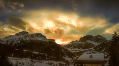 Corvara sunset (Мaistora) Tags: hills peaks summit rocks rocky skyline dolomites alps corvara altabadia italy austria tyrol winter snow pine trees skiing walking climbing hiking trekking alpine rugged formations shapes pictorial picturesque landscape painterly sunset sky clouds colour colourful fire gold goldenhour classic painting rennaissance lut grading color topaz restyle lightroom