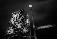 Arsenic (Holger Glaab) Tags: frankfurt henningerturm henningertower building skyscraper blackandwhite monochrome travel city urban lamp streetsign fineart