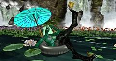 Everyone wants to be a mermaid (Torrie' Fookernut) Tags: thefantasyfaire sinfulneeds frogs virtualworld 2ndlife secondlife sl mermaid girl exile somethingnewpropsposes ifeelprettyhunt landscape water lilypads waterfalls belleza freya ghoul monster life