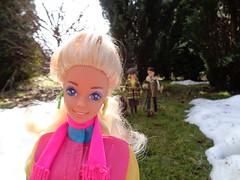 3/15 Sindy VS Barbie one sunny morning (CooperSky) Tags: ballerinasindy1979sindyfashion1979beretcountryclubtrousers skirt yellowsweater stripedshirtmixnmatch1978whitebagaprilshowers1977furcoatoutoftown1975yellowcheckeredcoatcheckycoat crystal superstar barbie 1988 erin diva from rockers