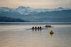 Rowers in the morning: Looking the wrong way (1/2) (jaeschol) Tags: europa kantonzürich kontinent morgen morning ruderboot ruderer schiff schweiz sport suisse switzerland zeit zürich zürichsee
