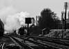 Wet rails (Peter Leigh50) Tags: mono monochrome blackandwhite black white bw steam train railway great central gcr railroad rail track 9f 92214 br signal semaphore telegraph pole