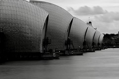 Thames Barrier (Sarah Marston) Tags: london thamesbarrier thamesbarrierpark longexposure bw blackandwhite mono sony ilce6300 april 2018
