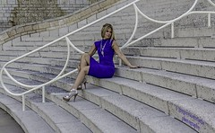 Rosie - waiting near the bottom. (gregoryscottclarke photography) Tags: rosanneneddo museumofcanadianhistory pink black blue boat stone stairs pathway summer hat