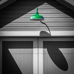 Green Light (tim.perdue) Tags: green light lamp shadow garage door german village columbus ohio square instagram mobile iphone color black white