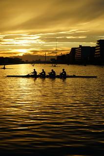 Sunset of boatcourse