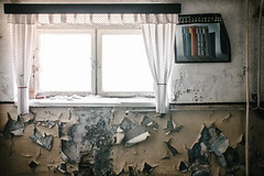 27/30 2017/04 (halagabor) Tags: urban exploration urbex urbanexploration decay derelict devastation abandoned abandonment lost lostplaces forgotten army military base hungary hungarian budapest nikon manualfocus room windows window old nikkor light curtain calendar