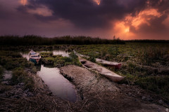 Marshlands boats (Mahmood Alsawaf) Tags: iraq mahmoodalsawaf marshes boats sunset sky sun sundown cloudy clouds hdr horizon photography landscapes lights lake art beautiful green colors